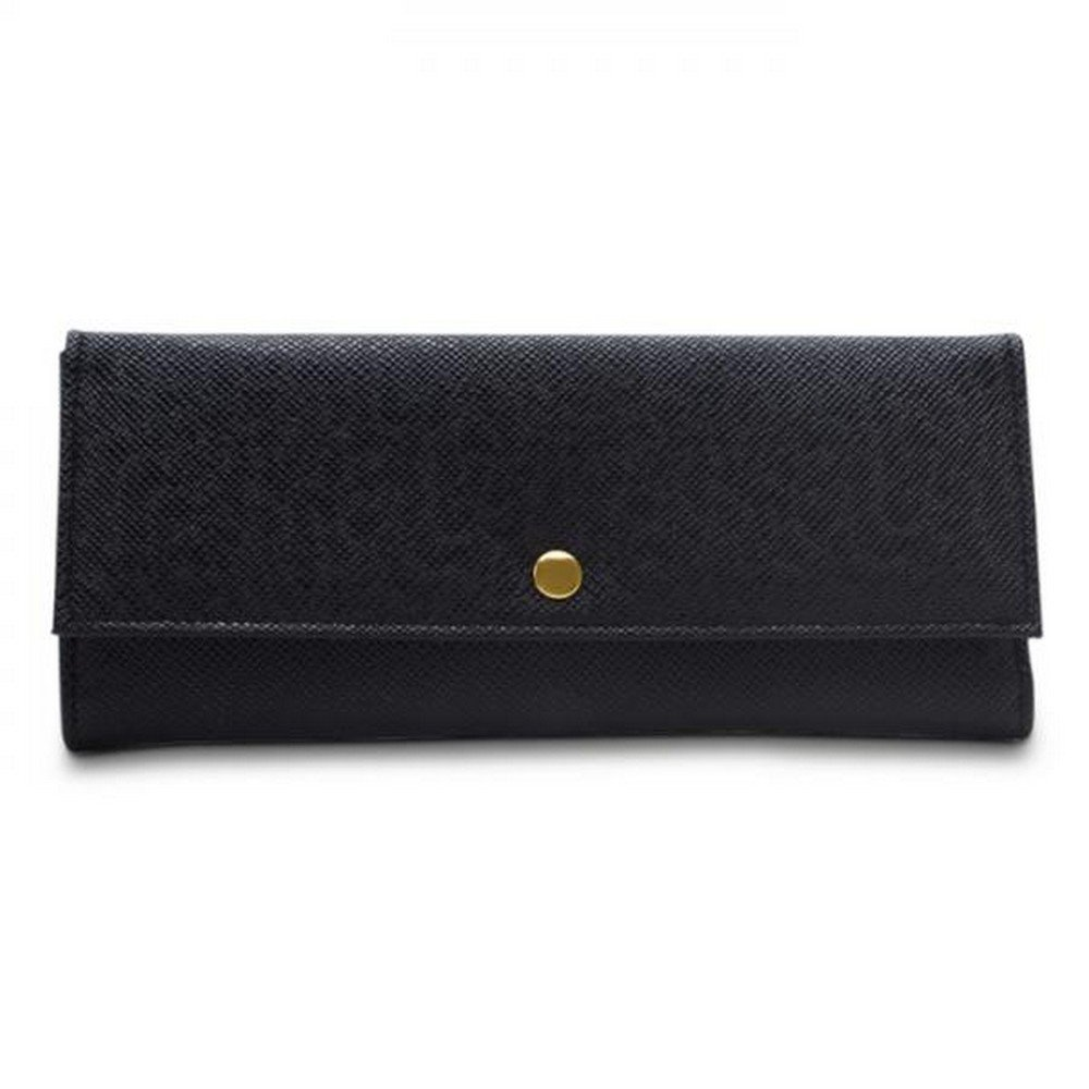 Women's Travel Jewelry Case in Faux Leather with 2 Zippered Pockets, Snap Closure Multiple Colors