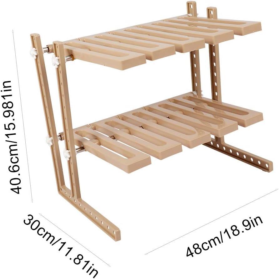 Jeffergarden Rack de Almacenamiento de Acero Inoxidable expandible Debajo del Fregadero Organizador Multifuncional DIY Cocina Portaherramientas para Cocina Caqui