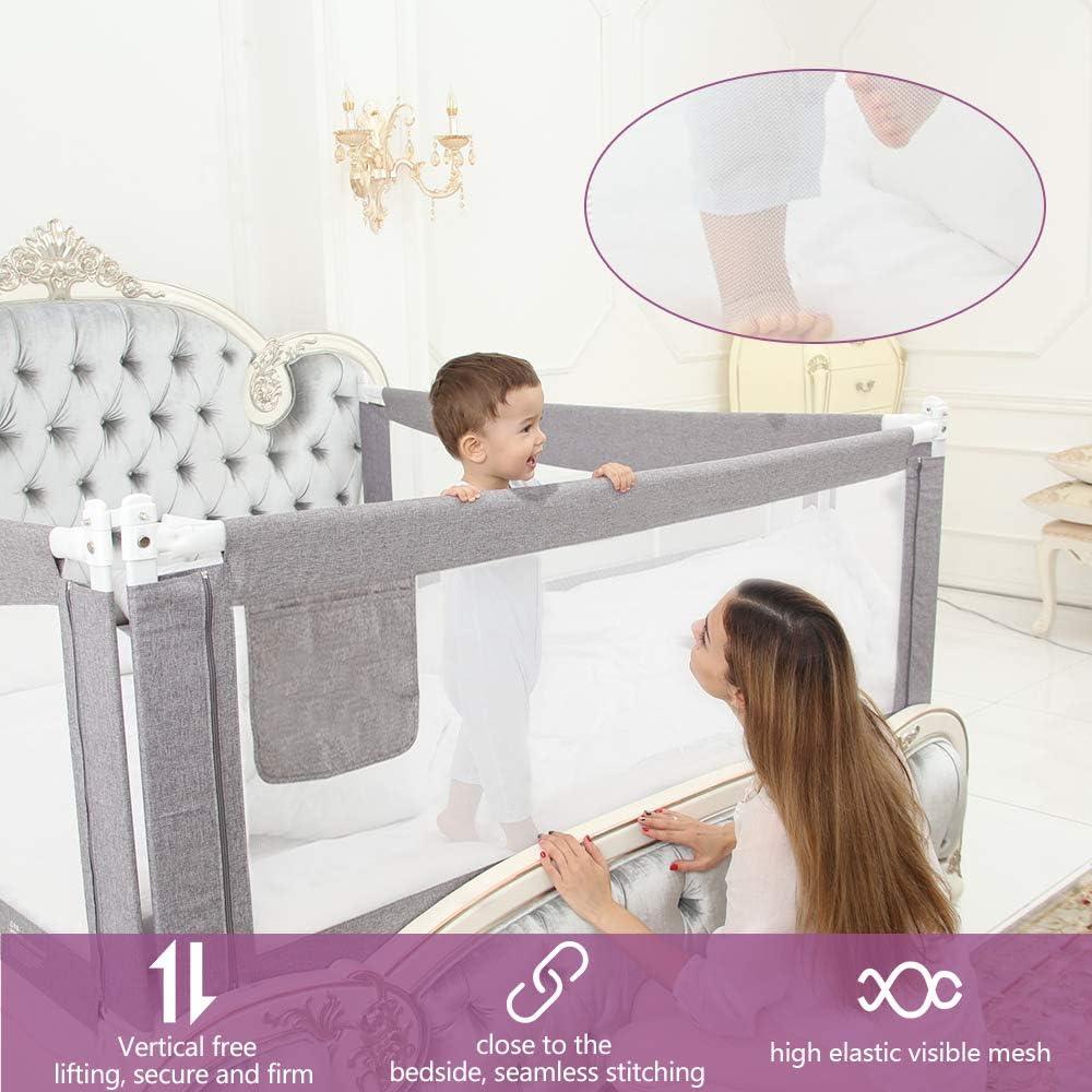 tama/ño completo tama/ño queen y king doble Barrera de cama para ni/ños Colch/ón doble ZEHNHASE Barandilla de La Cama para beb/és gris, Children: XS
