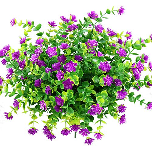YOSICHY Artificial Flowers, Fake Outdoor UV Resistant Plants Faux Plastic Greenery Shrubs for Outside Hanging Planter Home Kitchen Office Wedding Garden Decor(Fushia) (Best Hanging Flowers For Porch)