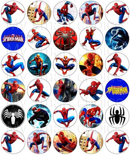 30 x Edible Cupcake Toppers - Spiderman Themed Collection of Edible Cake Decorations | Uncut Edible Prints on Wafer Sheet -