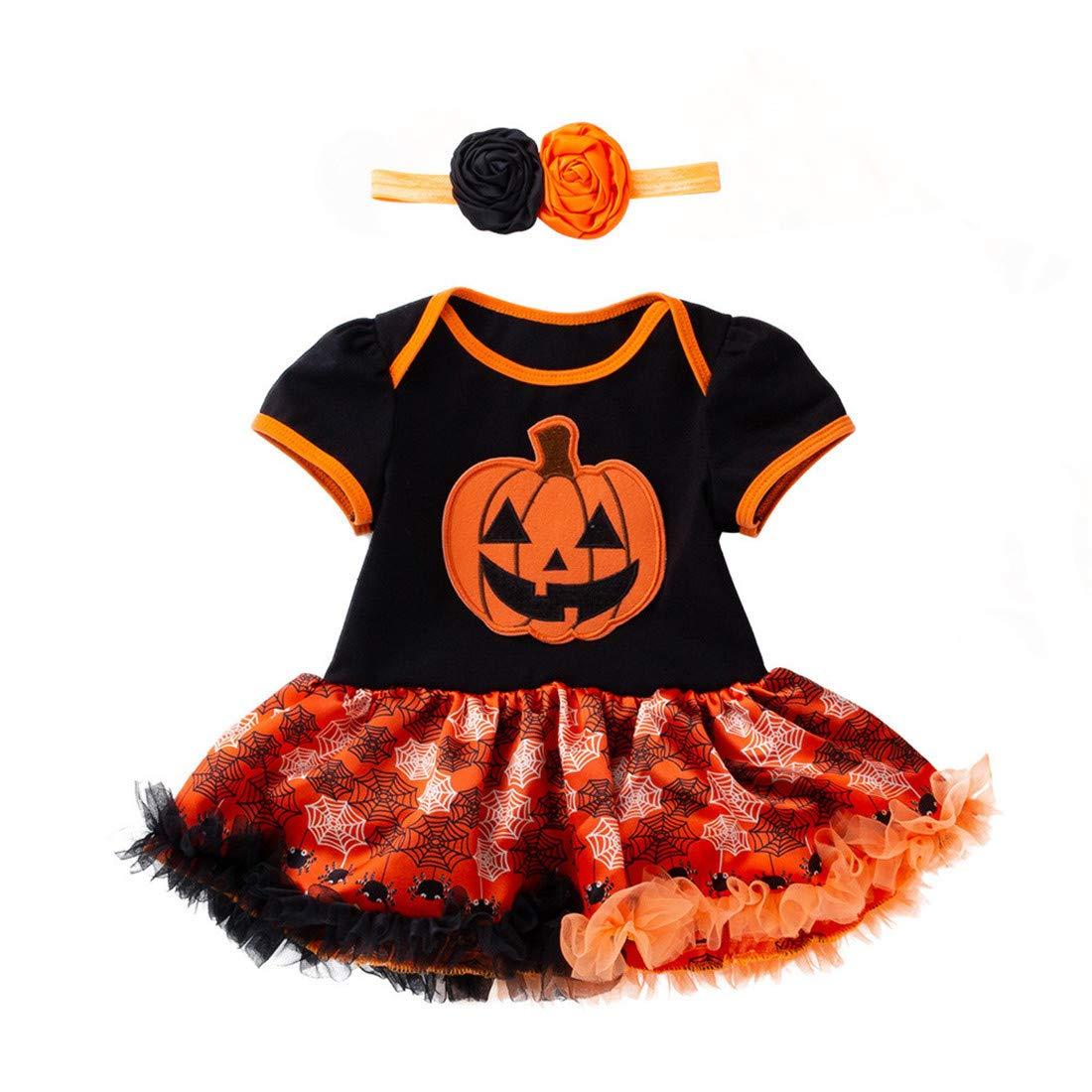 LianMengMVP Bébé Filles Halloween Robes Citrouille Robe De FêTe Arc Orange