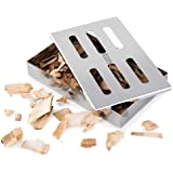 RWM Smoker Box for BBQ Grill Wood Chips - Large Grill Box Extra Thick Stainless Steel Heavy Duty Barbecue Meat Smoking with Cover for Charcoal & Gas Grilling and More