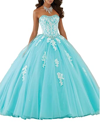 9e9da098336 Lisa Elegant Long Lace Prom Dreses Ball Gown Beaded Quinceanera Dresses  LS32 Baby Blue