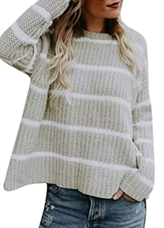 9993669aef2 Romacci Women Casual Winter Knitted Striped Sweater O Neck Long ...