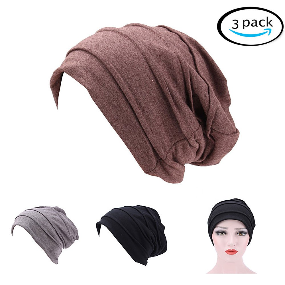 RACHELJP Head Turbans Slouch Beanie Hats Women Chemo Caps, 3 Pack headwrap