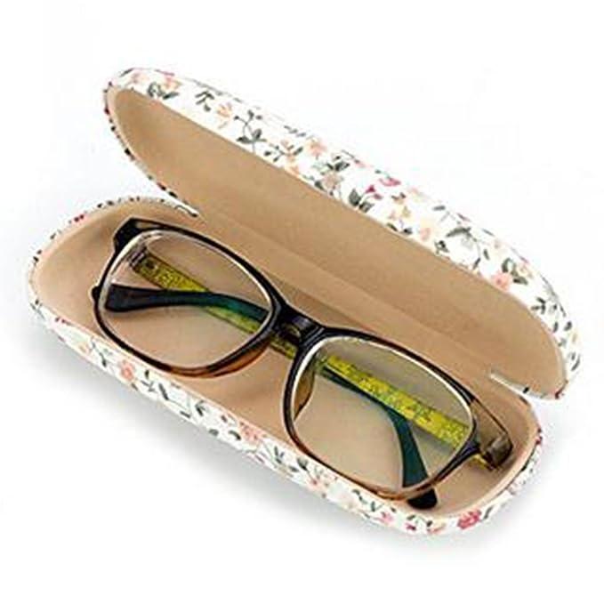 Blau Milopon Brillenetui Brille Case Hardcase Blumen Retro Damen Brillen F/ür kleine mittlere Gl/äser Rahmen