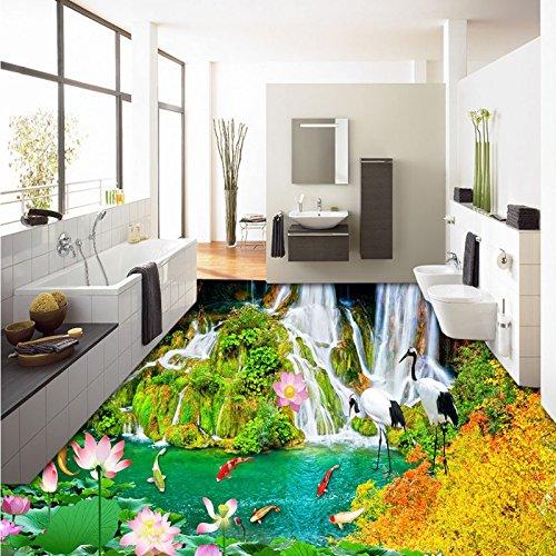 LHDLily Aesthetic Outdoor Waterfall Figure Lotus 3D Floor Painting Waterproof Non-Slip Bathroom Living Room Flooring Mural ()
