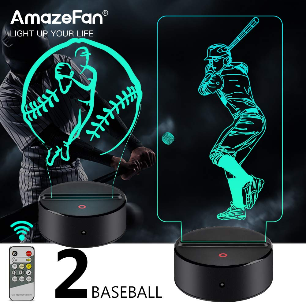 AmazeFan Baseball Night Light for Kids – 3D Baseball Night Lamp 7 Colors Optical Illusion Touch & Remote Control with 2…