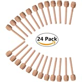 24 Pack Mini Wood Honey Dipper Sticks 3 Inch Server for Honey Jar Dispense Drizzle Honey and Wedding Party Favors-by Blinyang