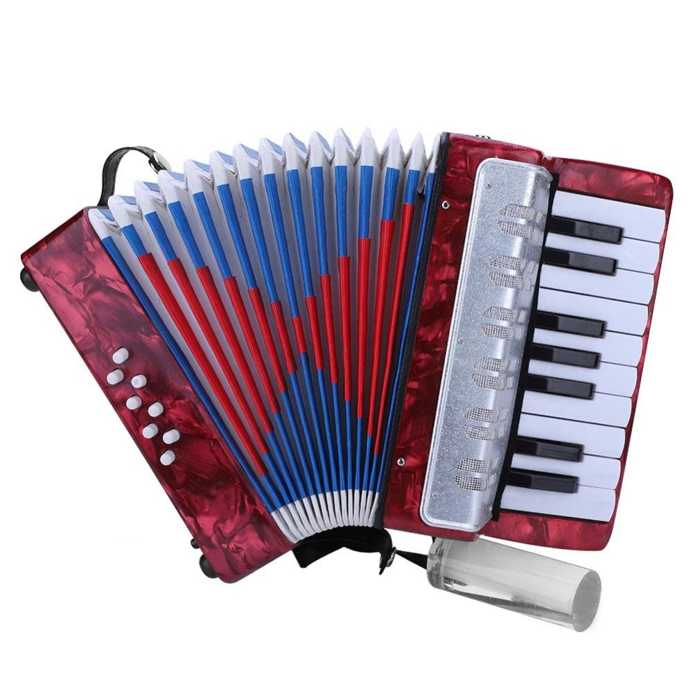 Accordion for kids Children, 17 Key 8 Bass Mini Small Piano Accordions Educational Musical Instrument Rhythm Toys for Amateur Beginners Students (Red, Blue, Green, Navy Blue)(Red) by Vbestlife