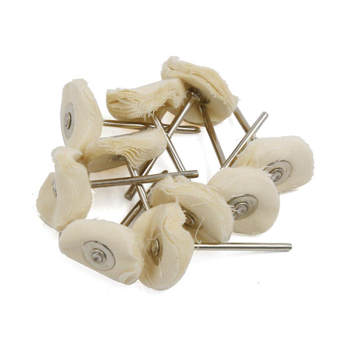 uxcell® 10 Pcs Round Shank 25mm x 3mm Cotton Blend Pad Jewelry Polishing Buffing Wheel