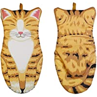 Oven Mitts Kitten, Quilted Cotton Lining- Cat Paw Design Heat Resistant Pot Holder Gloves for Grilling & Baking Gloves…