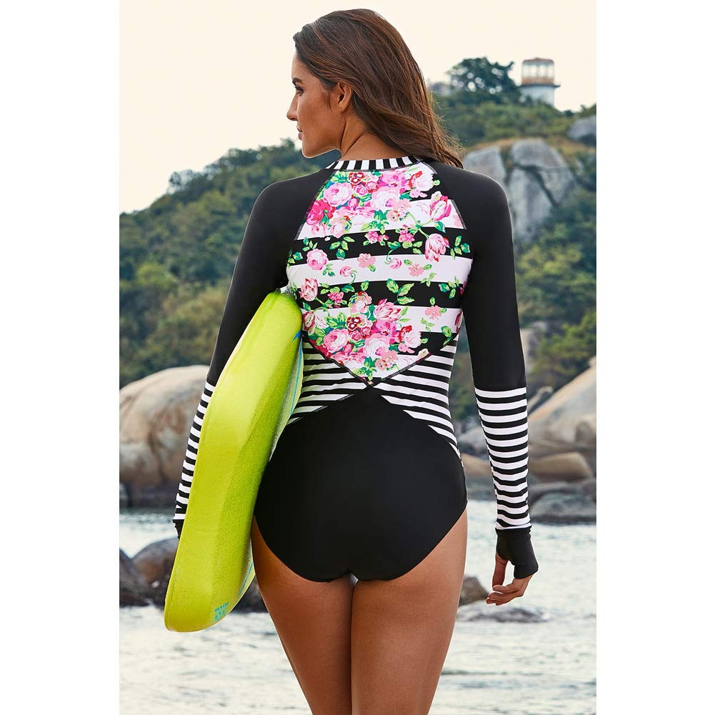 Women\'s Long Sleeve Front Zipper Print one-Piece, Sun Protection, uv Protection, surf Protection (L) Black