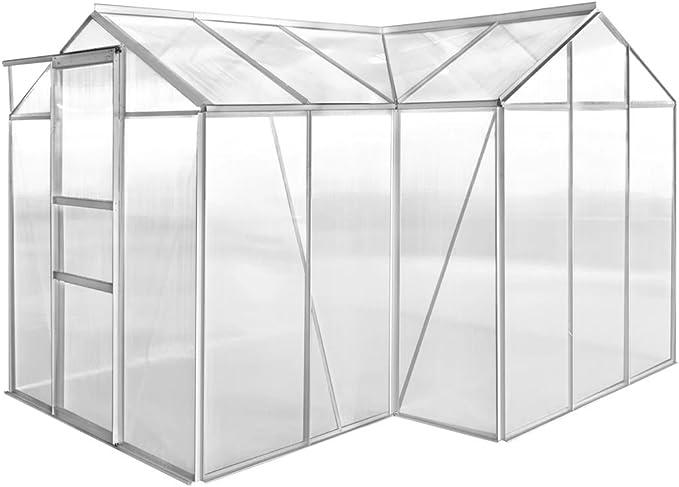 Tidyard Invernadero 1 Sección de Estructura de aleación de Aluminio y Paneles de policarbonato, Superficie del Terreno 8,36 m²: Amazon.es: Hogar