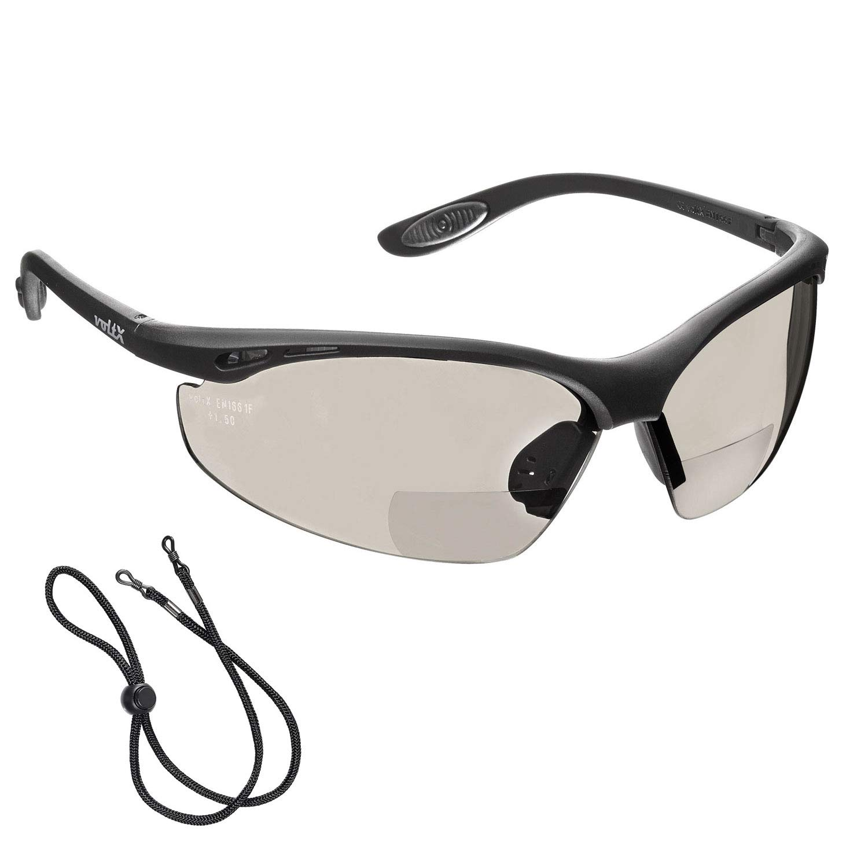 voltX 'CONSTRUCTOR' (ESPEJO dioptría +2.0) Gafas de Seguridad de Lectura BIFOCALES que cumplen con la certificación CE EN166F / Gafas para Ciclismo incluye cuerda de seguridad - Reading Safety Glasses