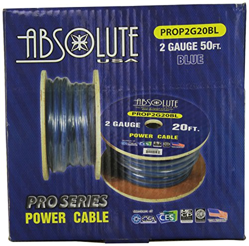 Absolute PROP2G20BL 2-Gauge Ultra Flexible Power Cable, 20 Feet (Blue)