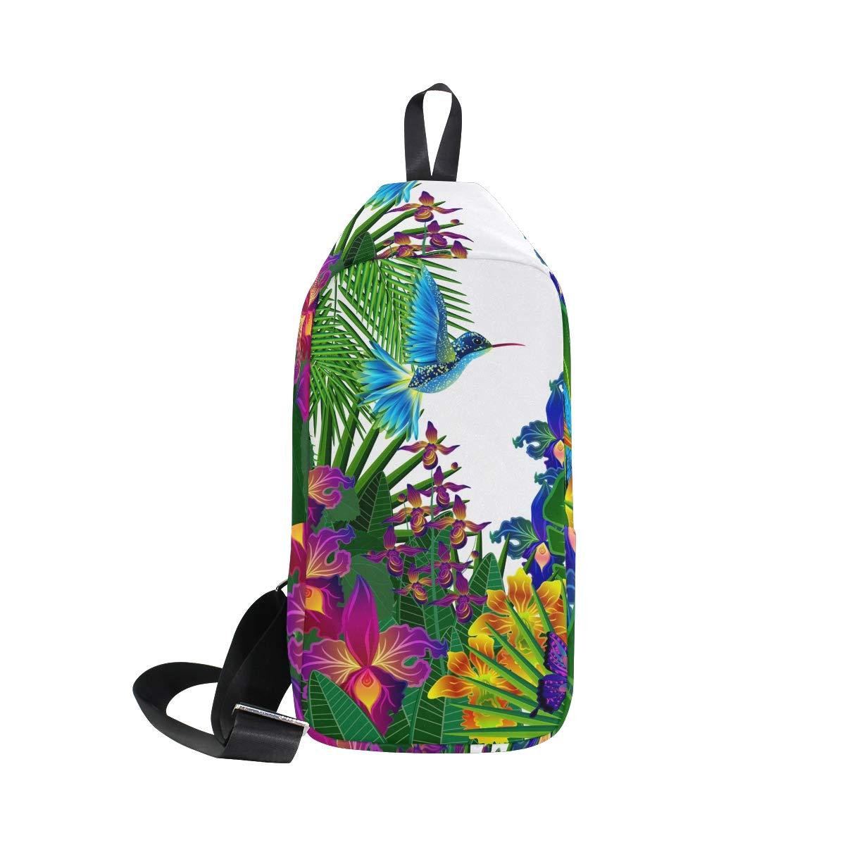 TFONE Hummingbird Flower Bird Crossbody Bag Lightweight Chest Shoulder Messenger Pack Backpack Sling Bag