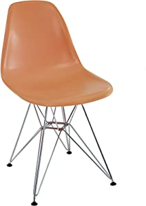 Modway Paris Mid-Century Modern Molded Plastic Dining Chair with Steel Metal Base in Orange, One
