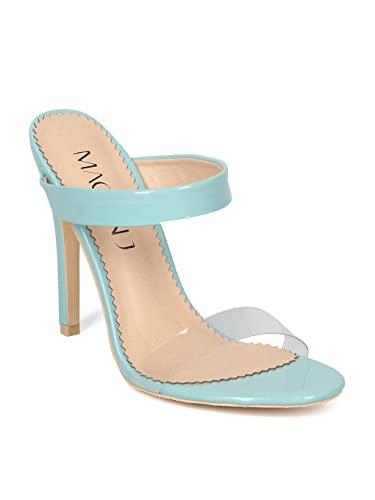 41578f89065 Alrisco Women Patent Leatherette Perspex Double Band Stiletto Sandal HG87 -  Lake Green Patent (Size