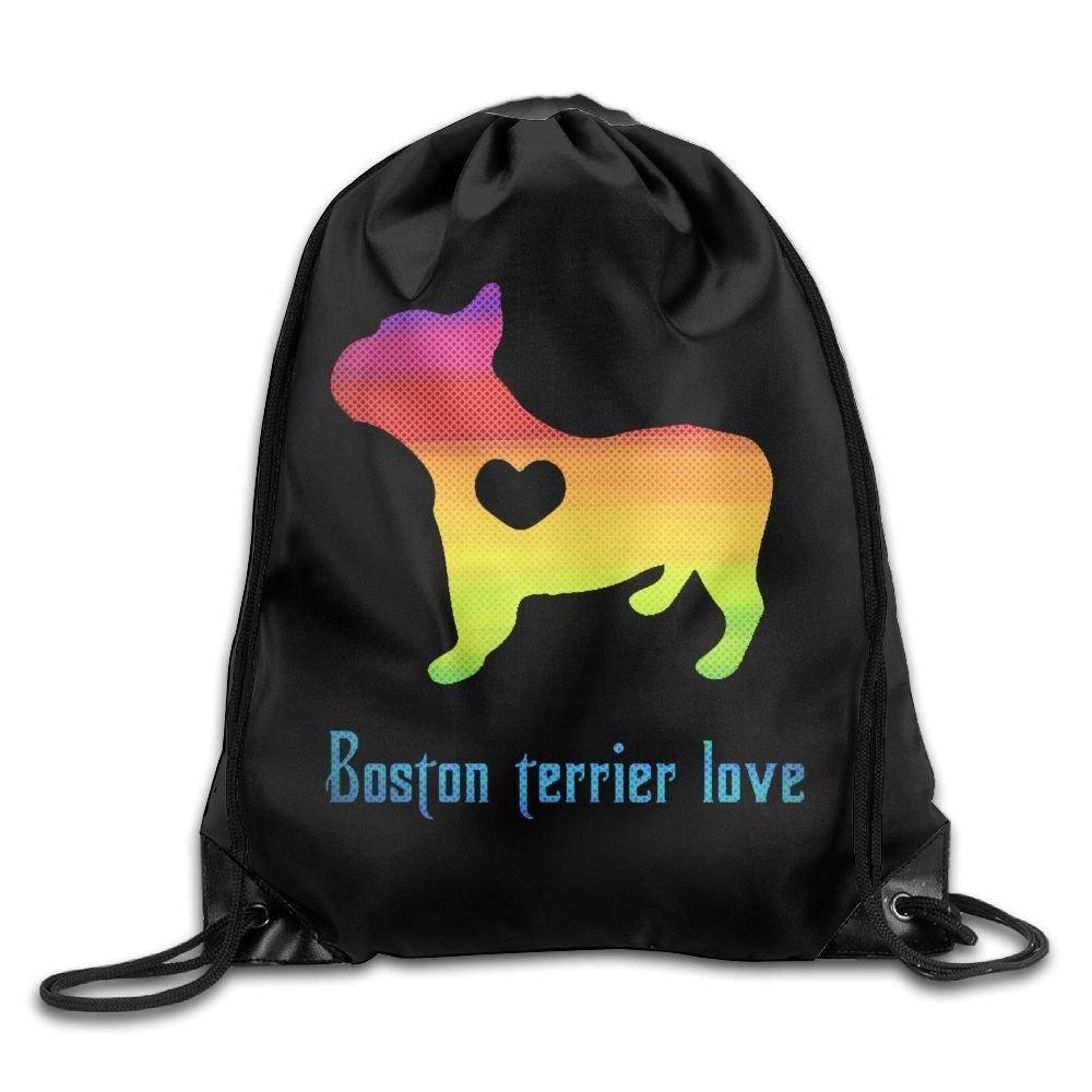 Color Boston Terrier Love Men & Women Drawstring Backpack Travel Bag