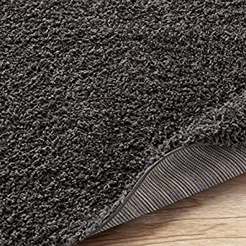 "Ottomanson Soft Cozy Color Solid Shag Runner Rug Contemporary Hallway and Kitchen Shag Runner Rug, Dark Gray, 27""L X 80""W"