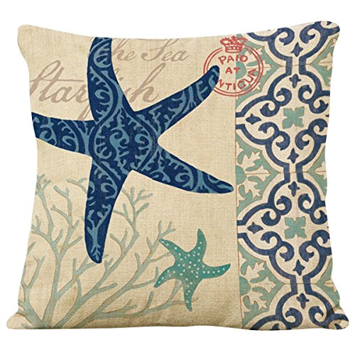 Starfish Linen (Famibay Decorative Pillow Cover Ocean Park Theme Square Cotton Linen Throw Pillow Case Cushion Cover 18 x 18 (Starfish Coral))