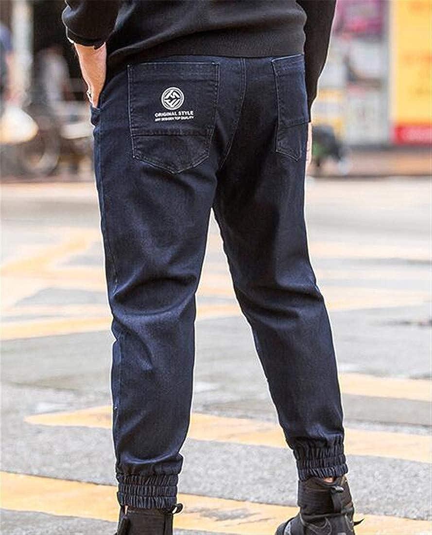 KLJR Men Ankle Length Oversized Wash Fashion Stretch Waist Close Bottom Denim Pants
