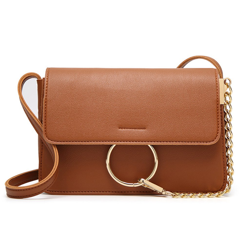 HaloVa Crossbody Bag, Leather Small Cellphone Pouch, Phone Purse, Brown