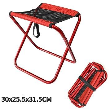 RFVBNM Camping Mazar Silla Plegable de Aluminio Taburete Silla de Pesca al Aire Libre Ocio Taburete Barbacoa Tren de Dibujo sillas alineadas,Rojo: ...