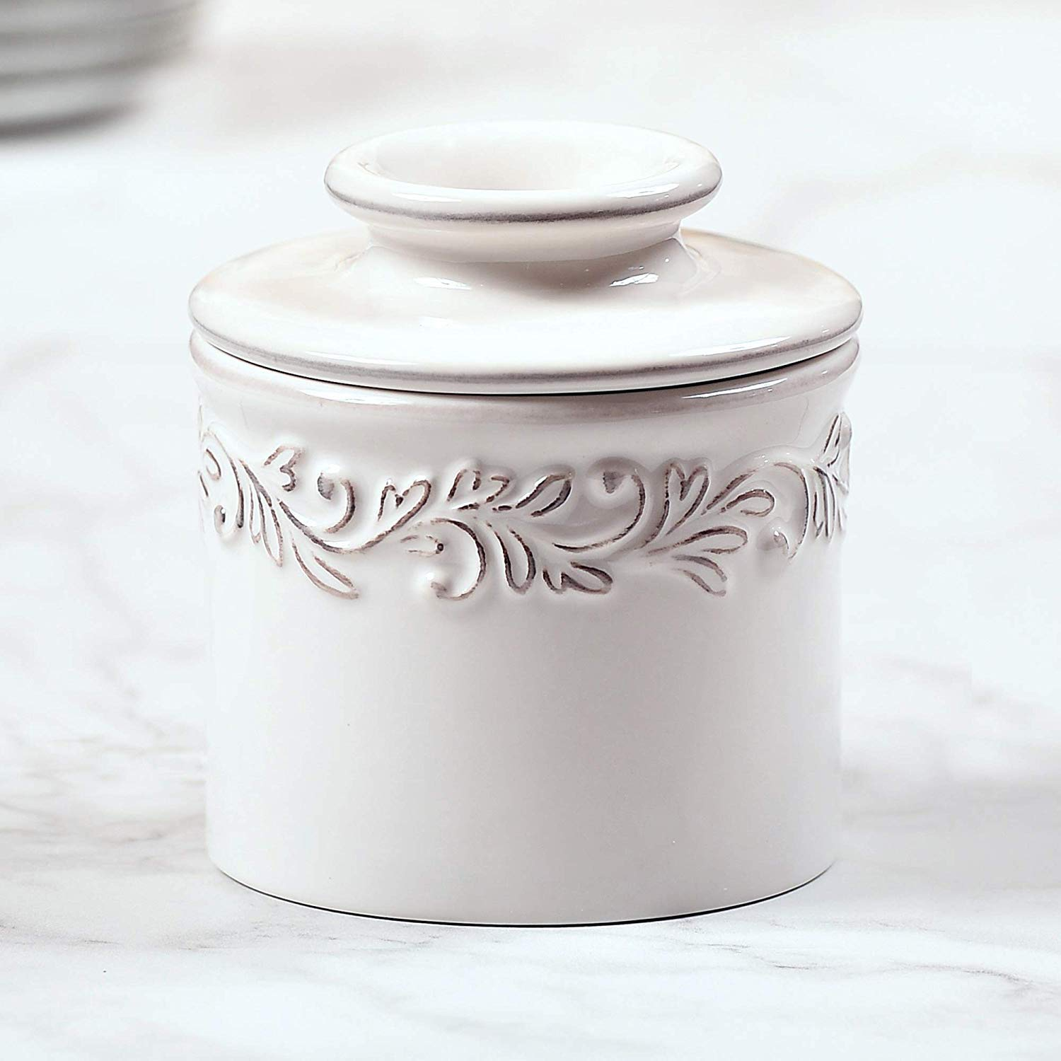 Antique Collection Tremain French Ceramic Butter Dish The Original Butter Bell Crock by L Butter Bell White Linen