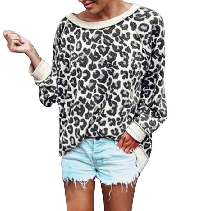 Camisetas Manga Largas Leopardo Mujer Otoño Tallas Grandes PAOLIAN Sudaderas Sin Capucha Pullover Tumblr Señora Invierno Suelto Blusas Cuello Redondo Tops ...