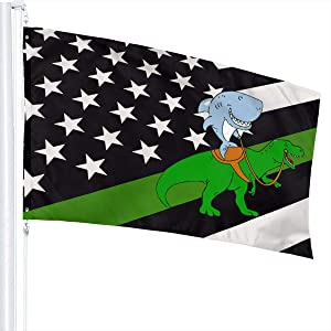 Thin Green Line USA Flag Great White Shark Riding A T Rex Flag 3X5 Fit Durable for Patio Yard Garden Lawn Cute Funny Individuality Home Dorm Room Outdoor Decor FWelcome Sign for Festival