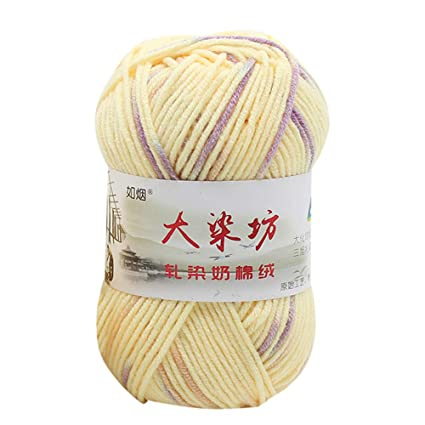 09e7e140f Tpingfe Chunky Colorful Hand Knitting Baby Milk Cotton Crochet Knitwear  Wool, 1PC 50g (H