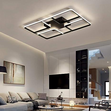 White Black Frame Modern Led Ceiling Light For Living Room