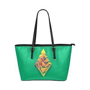 Women's Leather Large Tote HandBag Polygon Rhombus Shoulder Bag