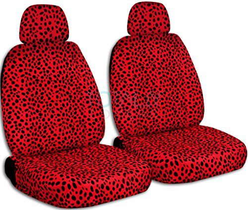 Animal Print Car Seat Covers w 2 Separate Headrest Covers: Ladybug - Semi-custom Fit - Front - Will Make Fit ANY Car/Truck/Van/SUV (29 Prints) (Custom Headrest)