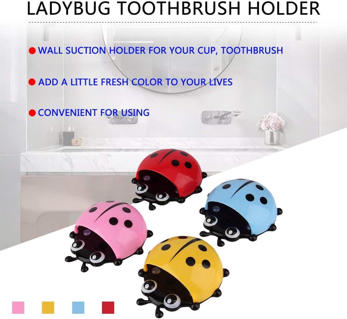 Jessicadaphne Ladybug Wall Suction Holder Organizer,Fashion Cute Bathroom Toothbrush Decor Accessories