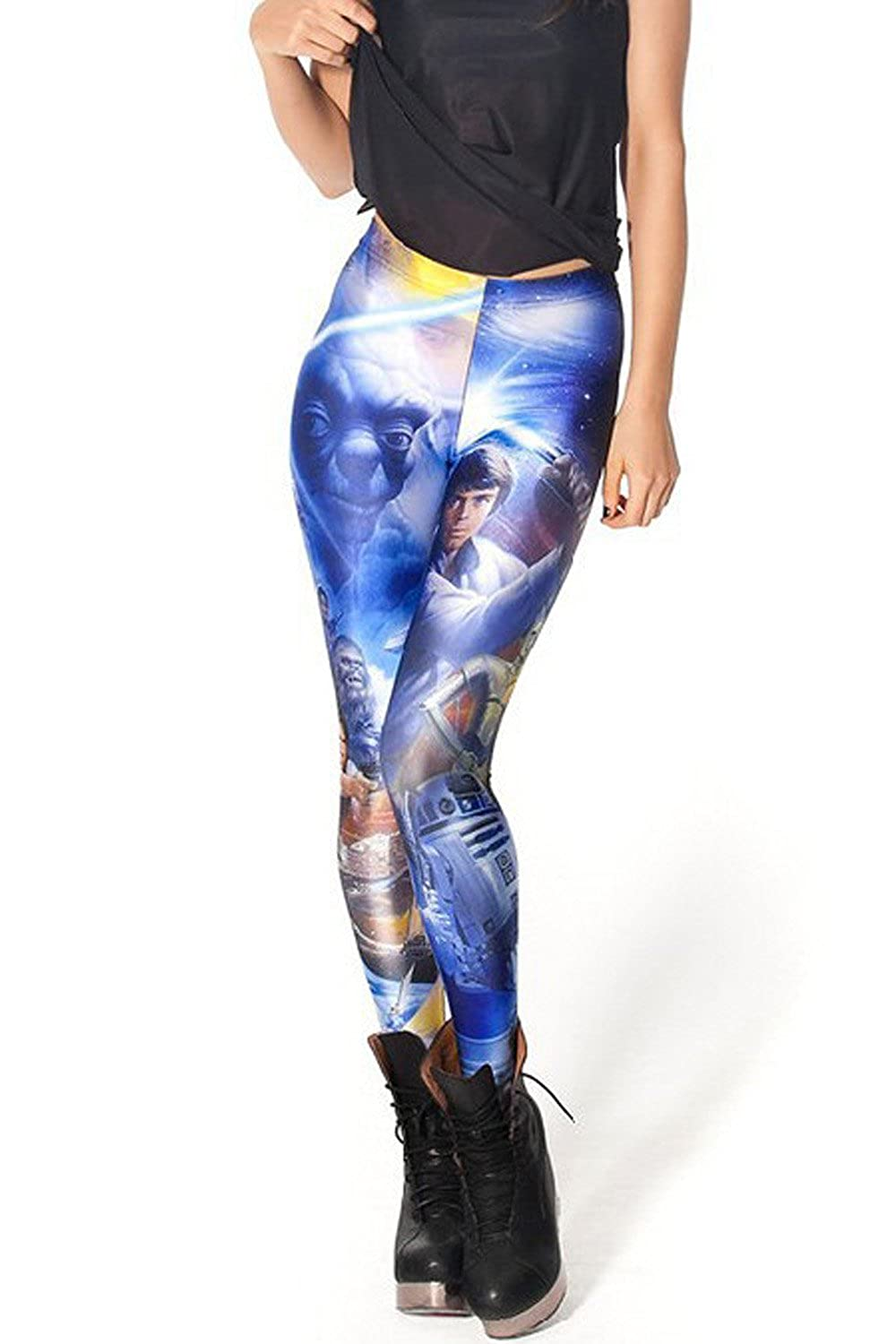 Lady Queen Women's Basic Star Wars Print Stretch Skinny Leggings Pants