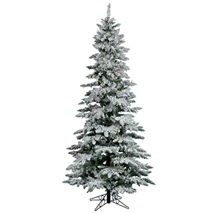 Slim Flocked Christmas Tree With Lights.Vickerman Flocked Slim Utica Tree With Dura Lit 300 Light 6 5 Feet By 39 Inch Mulitcolored
