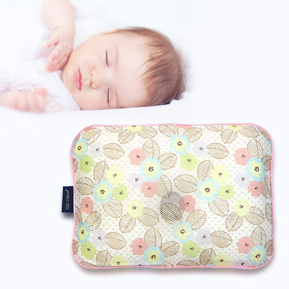 Gio Pillow 3D Air Mesh Baby Pillow, Head Shaping Pillow, Flat Head Syndrome Prevention [Bandi Flower/Small]