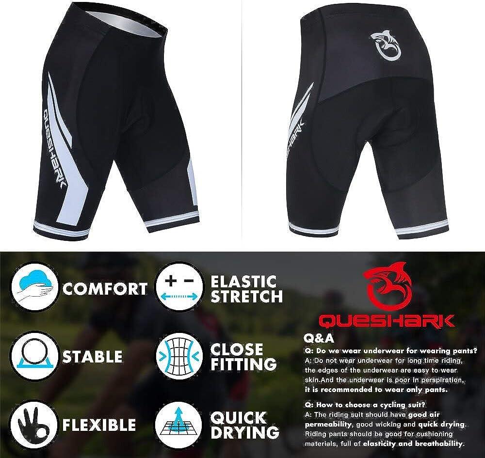Queshark Mens Bicycle Riding Pants Cycling Shorts Padded Bike Biking Clothes Cycle Wear Tights