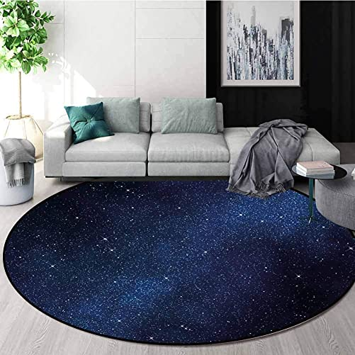 RUGSMAT Night Round Area Rug Ultra Comfy Thick,Space