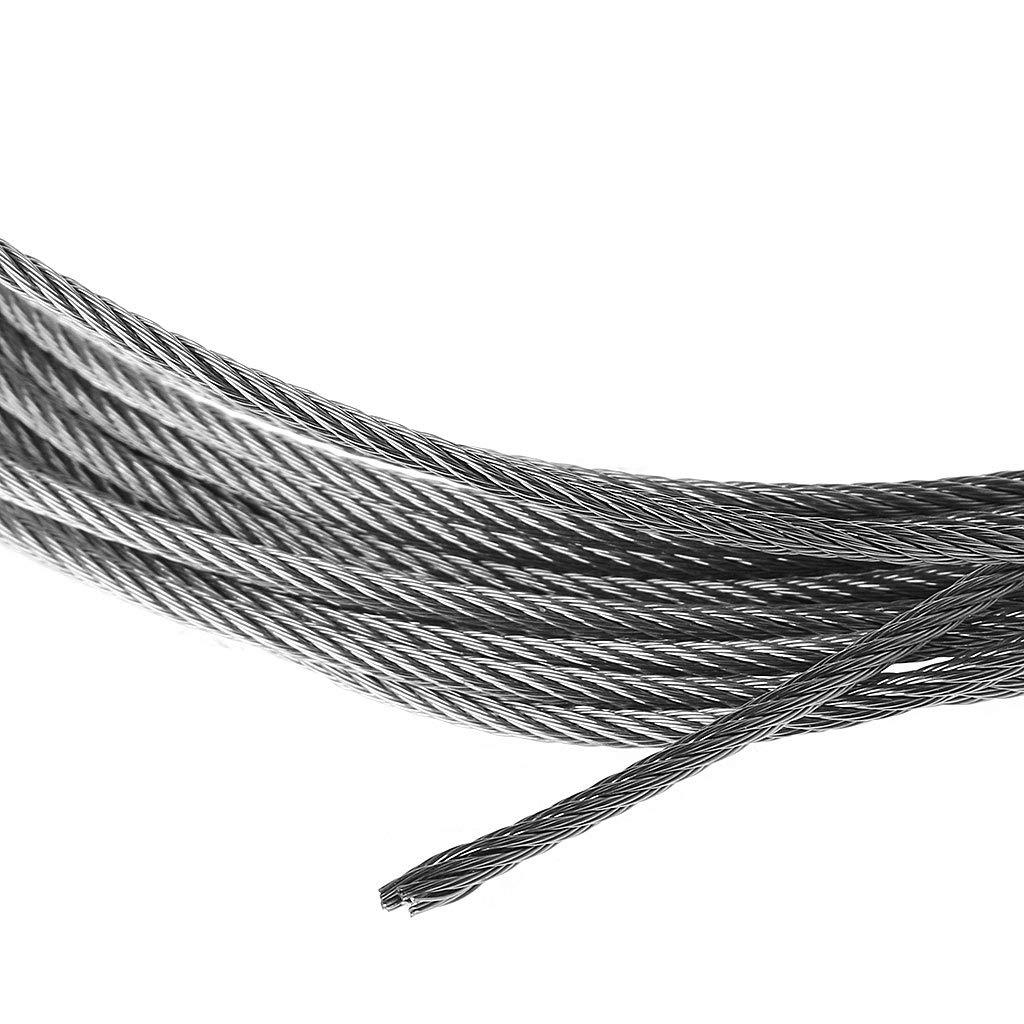 JOYKK Cavo di Sollevamento per la Pesca con Cavo da Pesca in Acciaio Inossidabile 5m 304 7 /× 7 1mm Argento