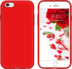 iPhone 6s Plus Case iPhone 6 Plus Case 5.5-inch Liquid Silicone GUAGUA Soft Gel Rubber Slim Lightweight Microfiber Lining Cushion Texture Shockproof Protective Phone Case for iPhone 6 Plus/6s Plus Red