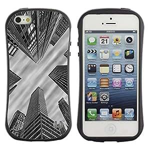 Hypernova Slim Fit Dual Barniz Protector Caso Case Funda Para Apple iPhone SE / iPhone 5 / iPhone 5S [Ville nyc d'architecture Boston Blanc]