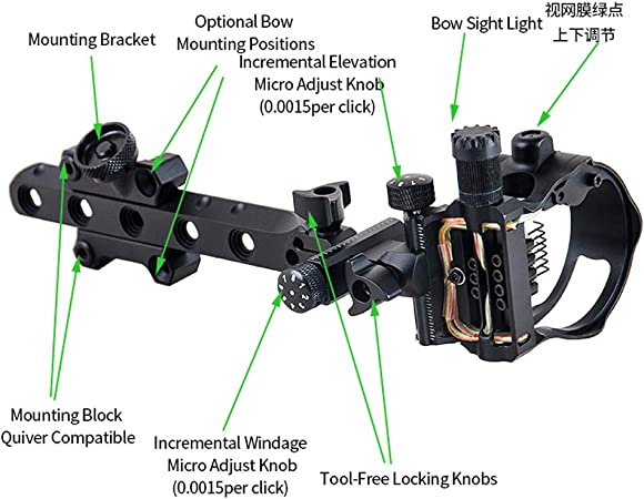 ZSHJG Archery Bow Sight Micro Adjustable Compound Bow Sight Aluminum Alloy 5 Pin .019 Bow Sight With Sight Light Bright fiber Wrapped Pins