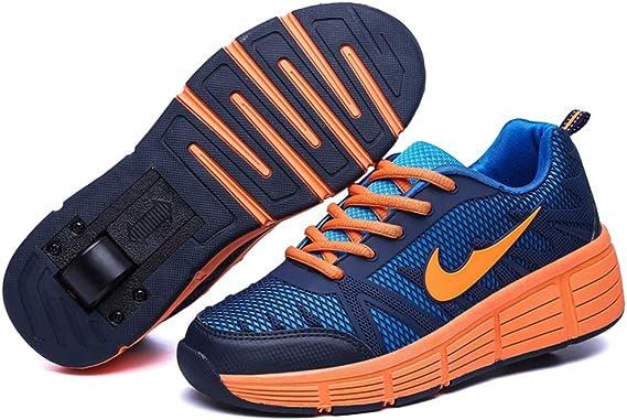 Chaussures à roulettes, Multicolore LED Chaussures Baskets pour Garçons et Filles Enfants Lumineuse avec Roue Chaussures de Sport