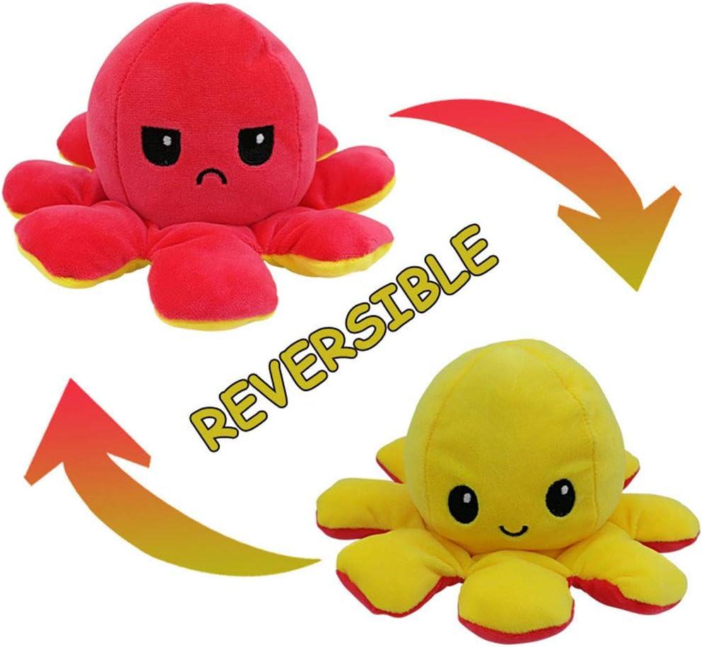 Reversible Marine Life Stuffed Animal Regalo Della Scuola Regalo di Compleanno Regali di Natale Bambini Morbidi Carini Giocattoli di Peluche per Ragazzi Ragazze Polpo Double Sided Flip Dolls