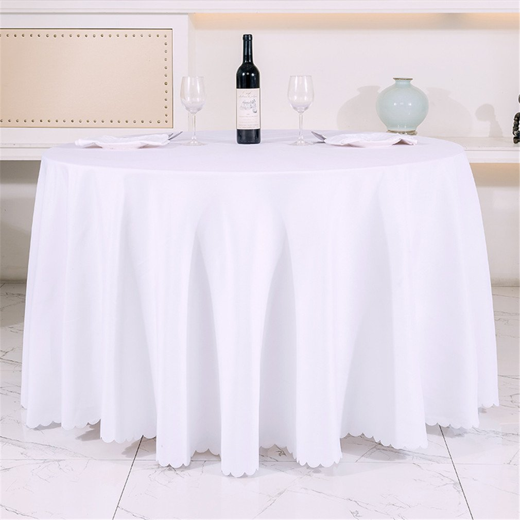 QsyyHome Thickened Solid Hotel Restaurant Tablecloth Picnic Wedding Banquet Round White